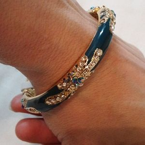unknown Jewelry - Teal/Gold Open Clasp Bracelet